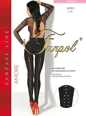 "WOMEN LADIES BLACK PATTERNED TIGHTS  60 DEN  ""Model AMORE 3D"" SIZE M-XXL"