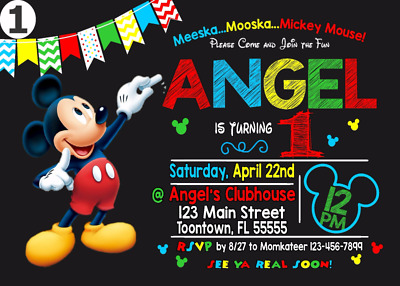 12 Mickey Mouse Invitation or Printable (4x6) or (5x7) | Turnaround Time 24-72hr