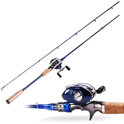 6.8ft Spinning Fishing Rod With 11BB Bait Casting Fishing Reel Combos Blue