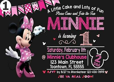 12 Minnie Mouse Invitation or Printable (4x6) or (5x7) | Turnaround Time 24-72hr