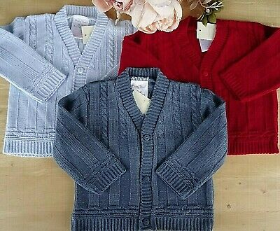 Baby Boy Sky Blue Cable Knitted V-neck Fine Cardigan Made in Portugal 0-3-6-9m