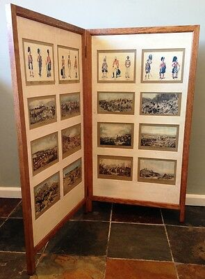 ANTIQUE GOLDEN OAK  FIRE/ ROOM  SCREEN WITH c.19TH SCOTTISH MILITARY PRINTS