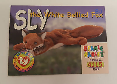 TY Beanie Baby collector card Sly the white bellied fox Series 2 EU