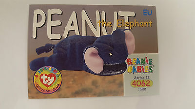 TY Beanie Baby collector card Peanut the Elephant Series 2 EU