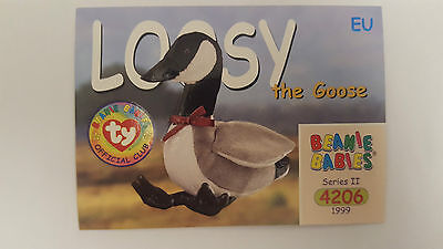 TY Beanie Baby collector card Loosy the goose Series 2 EU