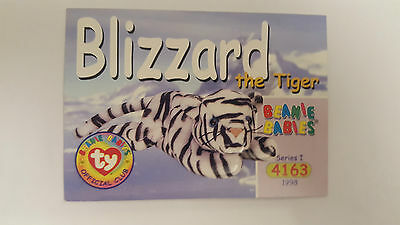 TY Beanie Baby collector card Blizzard the tiger Series 1