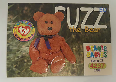 TY Beanie Baby collector card Fuzz the Bear Series 2 EU