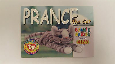 TY Beanie Baby collector card Prance the cat Series 1