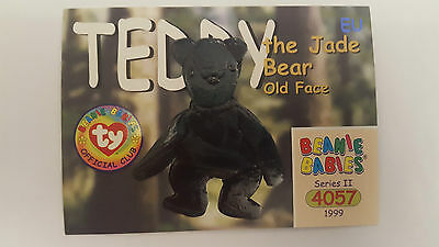 TY Beanie Baby collector card Teddy the Jade Bear (old face) Series 2