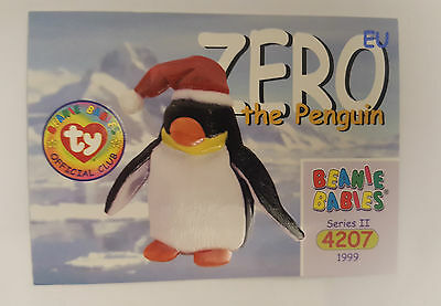TY Beanie Baby collector card Zero the Penguin Series 2 EU
