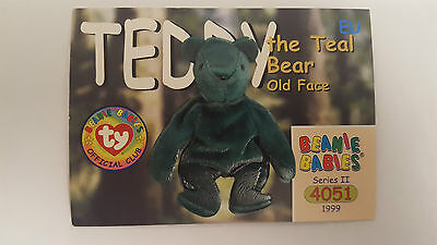TY Beanie Baby collector card Teddy the Teal Bear Old Face Series 2