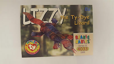 TY Beanie Baby collector card Lizzy the Ty-Dye Lizard Series 2 EU