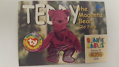 TY Beanie Baby collector card Teddy the Magenta Bear (old face) Series 2 EU