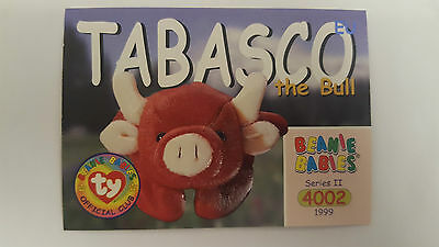 TY Beanie Baby collector card Tabasco the bull Series 2 EU