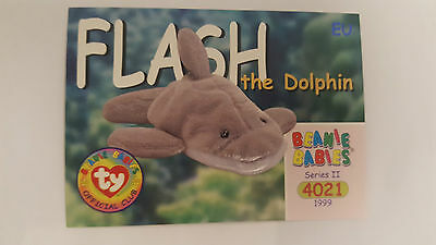 TY Beanie Baby collector card Flash the dolphin Series 2 EU
