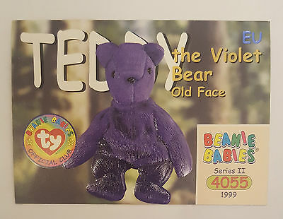 TY Beanie Baby collector card Teddy the Violet Bear (old face) EU
