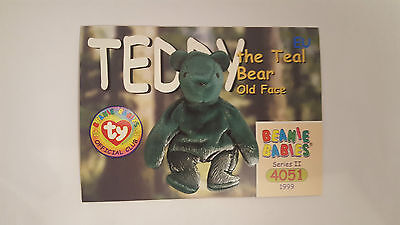 TY Beanie Baby collector card Teddy the teal bear (old face) Series 2 EU