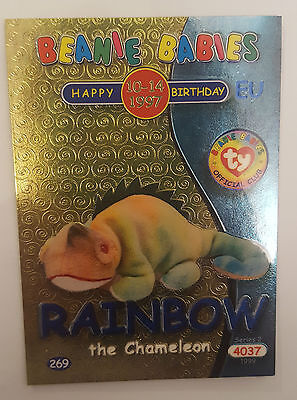 TY Beanie Baby collector card Rainbow the Chameleon birthday edition