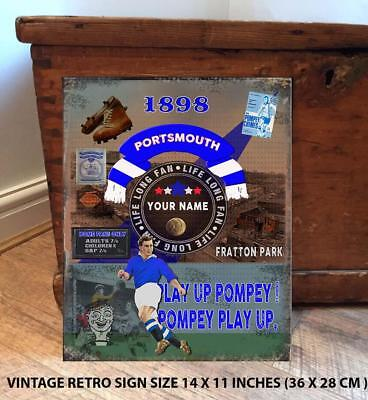 PERSONALISED PORTSMOUTH POMPEY     NO1   FAN  FOOTBALL Vintage  Metal Wall Sign
