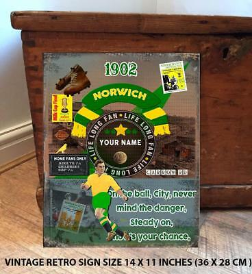 PERSONALISED NORWICH CITY       NO1   FAN  FOOTBALL Vintage  Metal Wall Sign