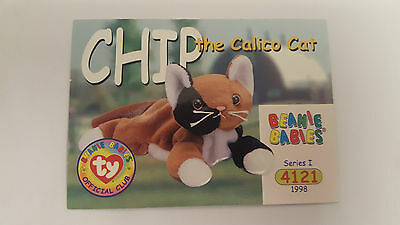 TY Beanie Baby collector card Chip the calico cat series 1