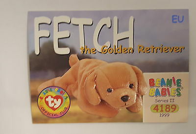 TY Beanie Baby collector card Fetch the Golden Retriever Series 2 EU
