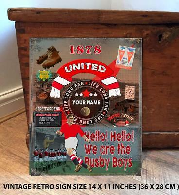 PERSONALISED MANCHESTER UTD REDS    NO1   FAN  FOOTBALL Vintage  Metal Wall Sign