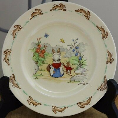 Royal Doulton Bunnykins Plate - Mother and Child Walking - Signed Barbara Vernon