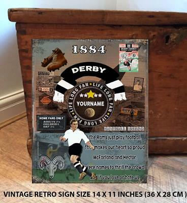 PERSONALISED  DERBY COUNTY  NO1 FAN  FOOTBALL Vintage  Metal Wall Sign