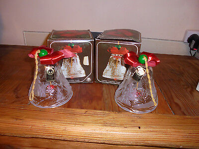 Vintage  Original Walther Crystal Glass Chrismas Large  Pair Boxed Bells
