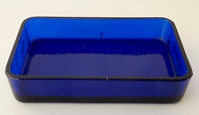 VINTAGE COBALT BLUE glass bowl dish LINER replacement part Rectangular (1 of 2)