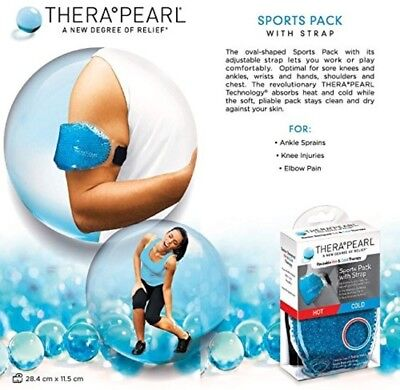TheraPearl Sports Pack With Strap, Reusable Hot Cold Therapy Wrap with Gel Beads