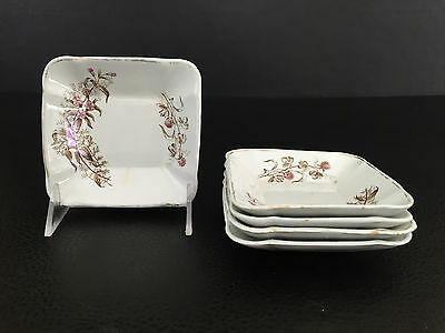 5 Antique ironstone butter dishes # 80633, Aesthetic Movement 1880's 1890's
