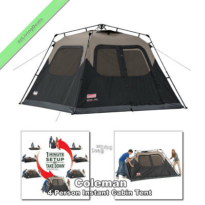 Coleman Instant Tent 4 Person 8' x 7' Outdoor Family Camping Cabin Dome Tents
