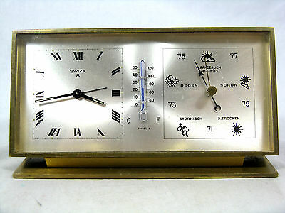 Seltene SWIZA Wetterstation Tischuhr alarm table clock Swiss made 8 days German
