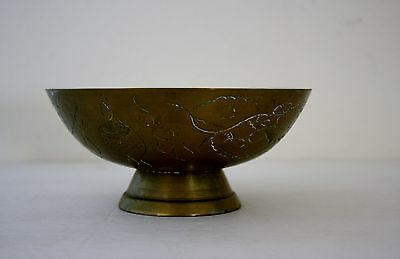 Chinese Brass Footed Fruit Bowl Engraved Symbols