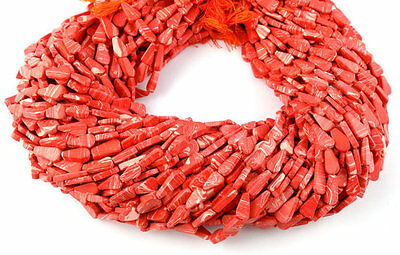 """3 Strands Synthetic Orange Coral 5x9-6x12mm Pear Shape Gemstone Smooth 13"""" Long"""