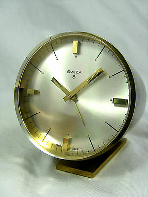 Schöne SWIZA Tischuhr Wecker alarm table clock Swiss made 8 days working  420Gr.