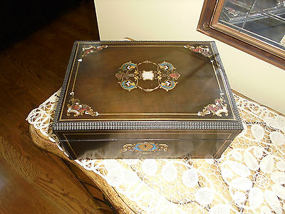 ANTIQUE FRENCH Boulle Wood Casket Jewelry Box Velvet Lining