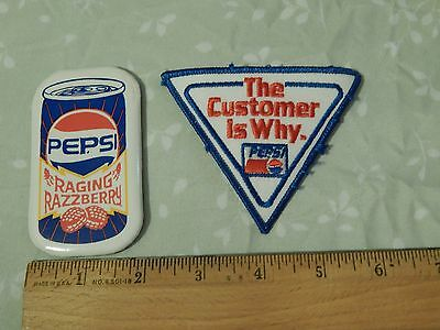 "PEPSI-COLA ~LOT~ [Vtg_Ltd] ""The Customer is Why"" PATCH & ""Raging Razzberry"" PIN"