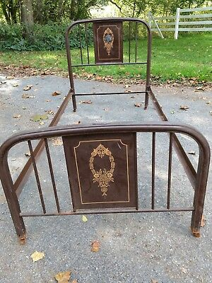 art deco metal twin bed frame  lot # 1