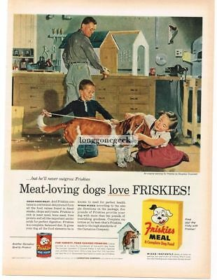 1956 FRISKIES Meal Dog Food Boy Girl Basset Hound art Douglass Crockwell Vtg Ad