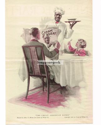 """1920 CREAM OF WHEAT Cereal """"Great American Daily"""" art Edward Brewer Vtg Print Ad"""