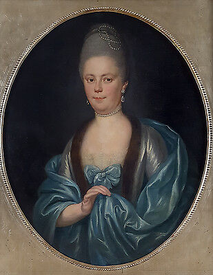 Huge Fine 18th Century Portrait of Lady Pearls Oval Antique Oil Painting