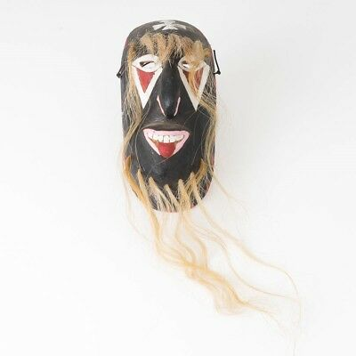 "Vintage Sonora Yaqui Paint & Hair Native American Indian Pascola Dance Mask 8"" T"