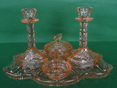 Vintage Salmon Pink Glass Dressing Table Set - 5 pieces - 1930's-1940's