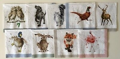 9 x Single Paper Cocktail Napkins ~WRENDALE COUNTRY ANIMALS