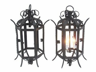Pair Antique French Wrought Iron Gothic Lanterns Outdoor Iron Lanterns