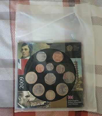 2009 UK Uncirculated Coin Set With RARE KEW GARDENS 50p In Mint Sealed Pack