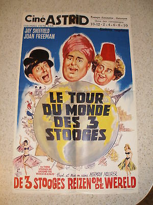 1963 Original Stooges Around the World in a Daze Belgian Poster, used by theater